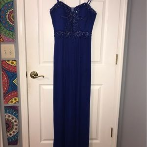 Blue Strapless Jeweled Dress by Blondie Nites